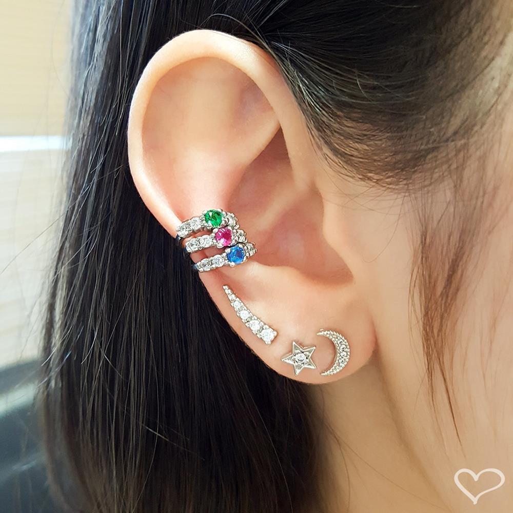 Brinco piuka ceci mini ear cuff zircônia folheado em ródio branco