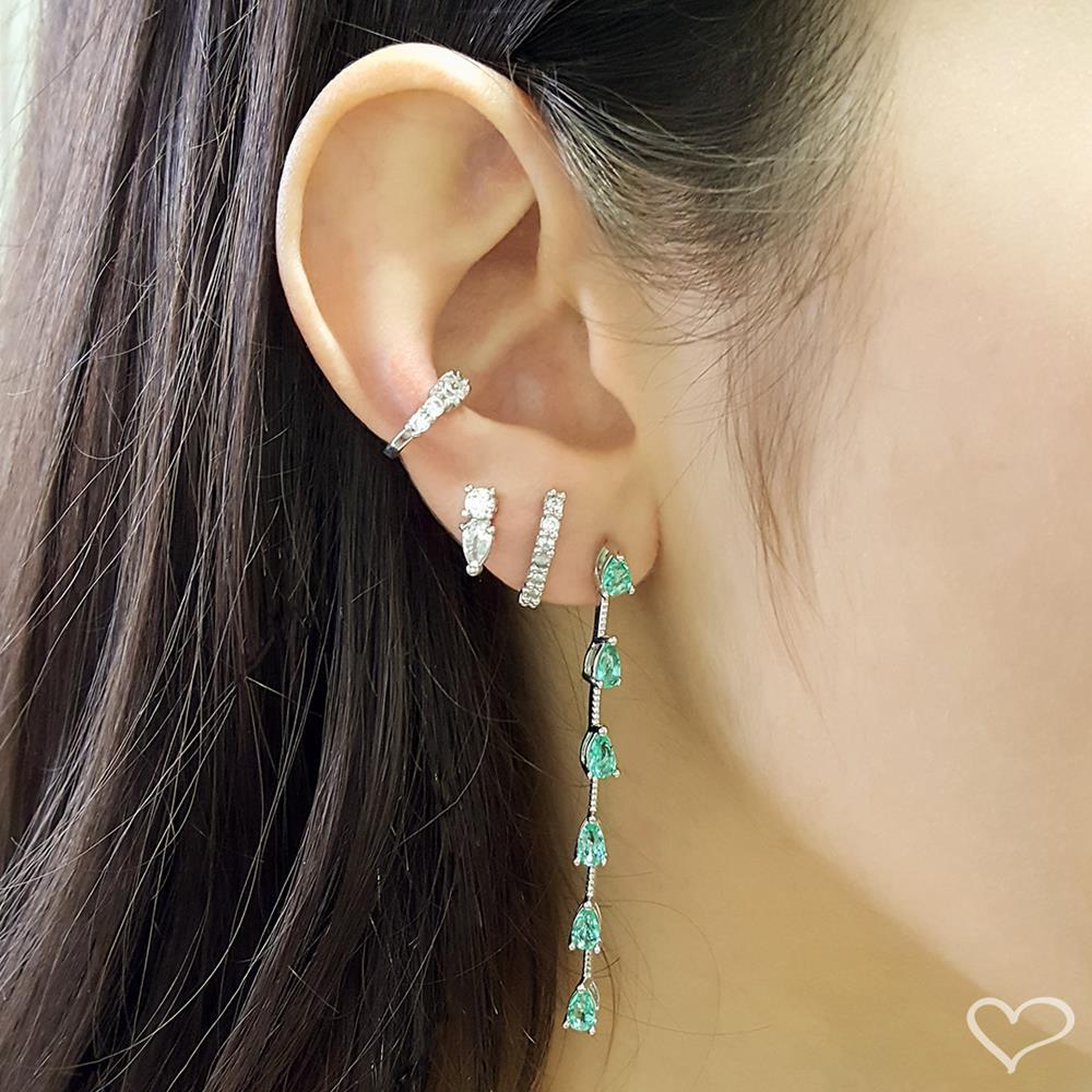 Brinco piuka ear hook lully zircônia cristal folheado em ródio branco