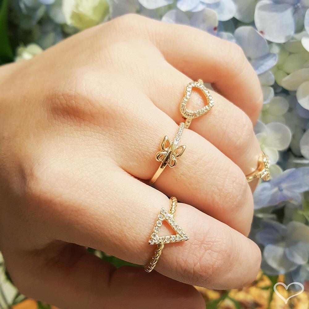Anel piuka dely borboleta zircônia folheado a ouro 18k