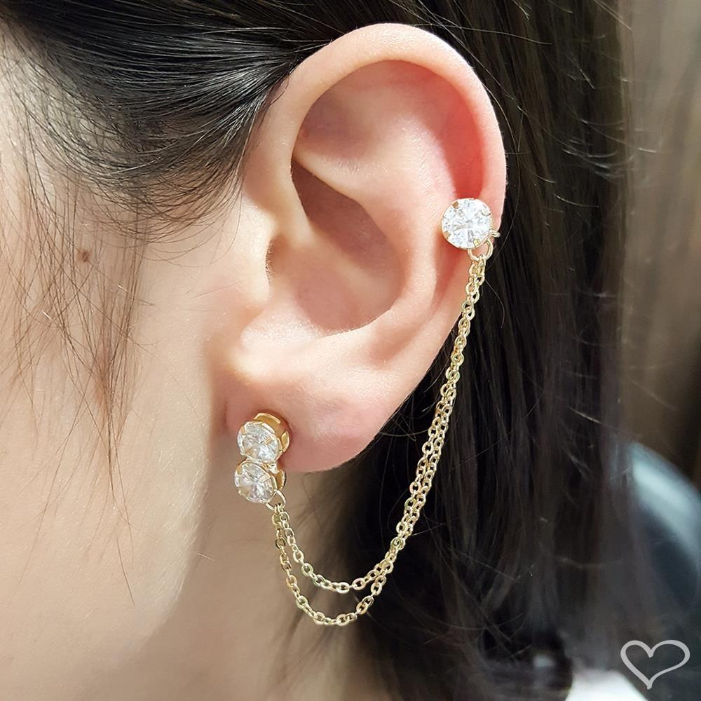 Brinco piuka ear cuff sarah ponto de luz zircônia cristal folheado a ouro 18k