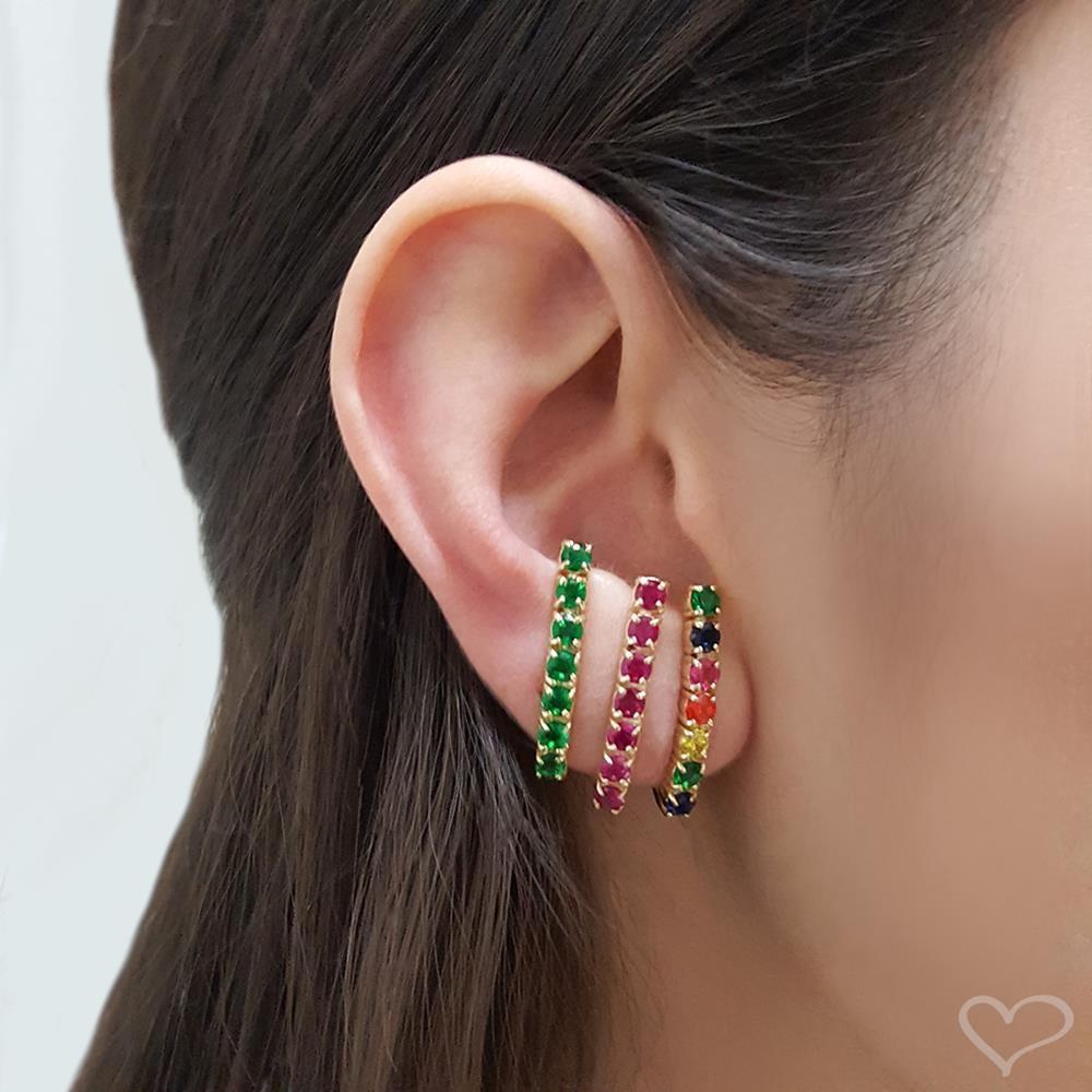 Brinco ear hook de pressão piuka jeanny zircônia pink folheado a ouro 18k