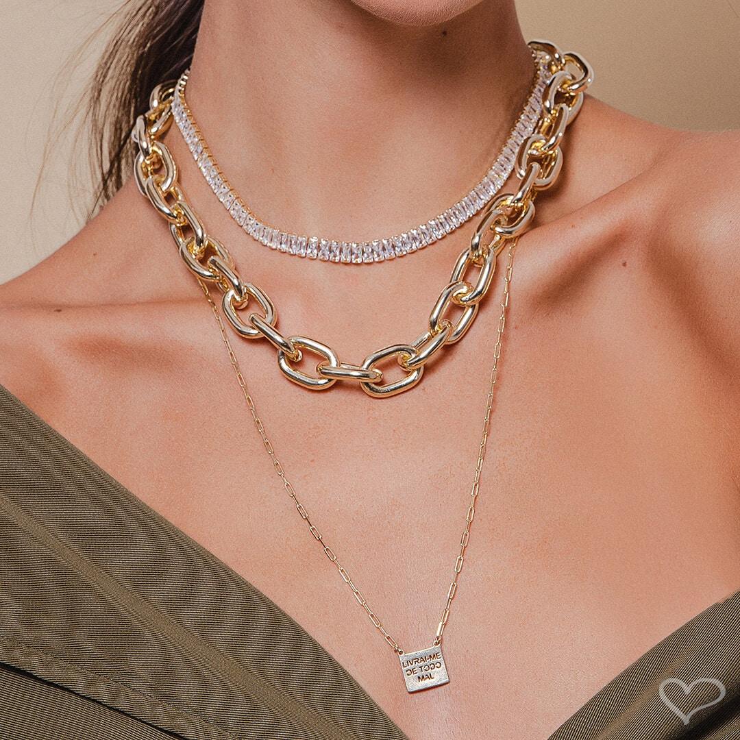 Choker piuka taylor baguete zircônia cristal folheado a ouro 18k