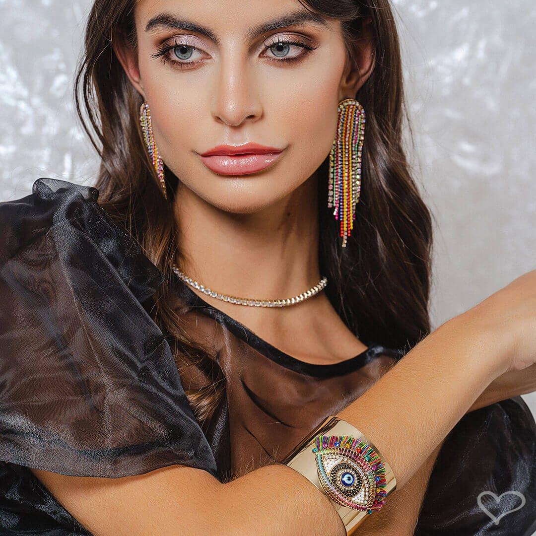 Bracelete piuka asha semi aberto olho grego colorido