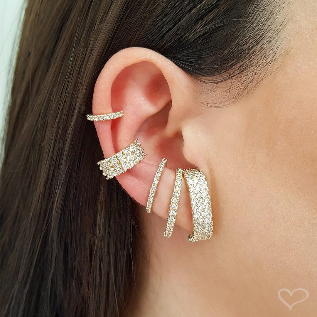Brinco Piuka Ear Hook Alice 3 Fileiras Zircônia Cristal Folheado A Ouro 18k