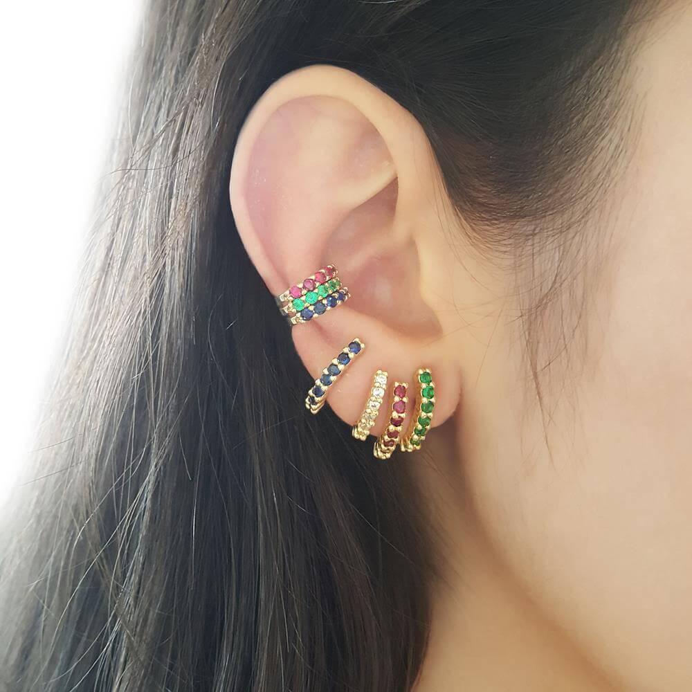 Brinco Piuka Ear Hook Lully Zircônia Safira Folheado A Ouro 18k