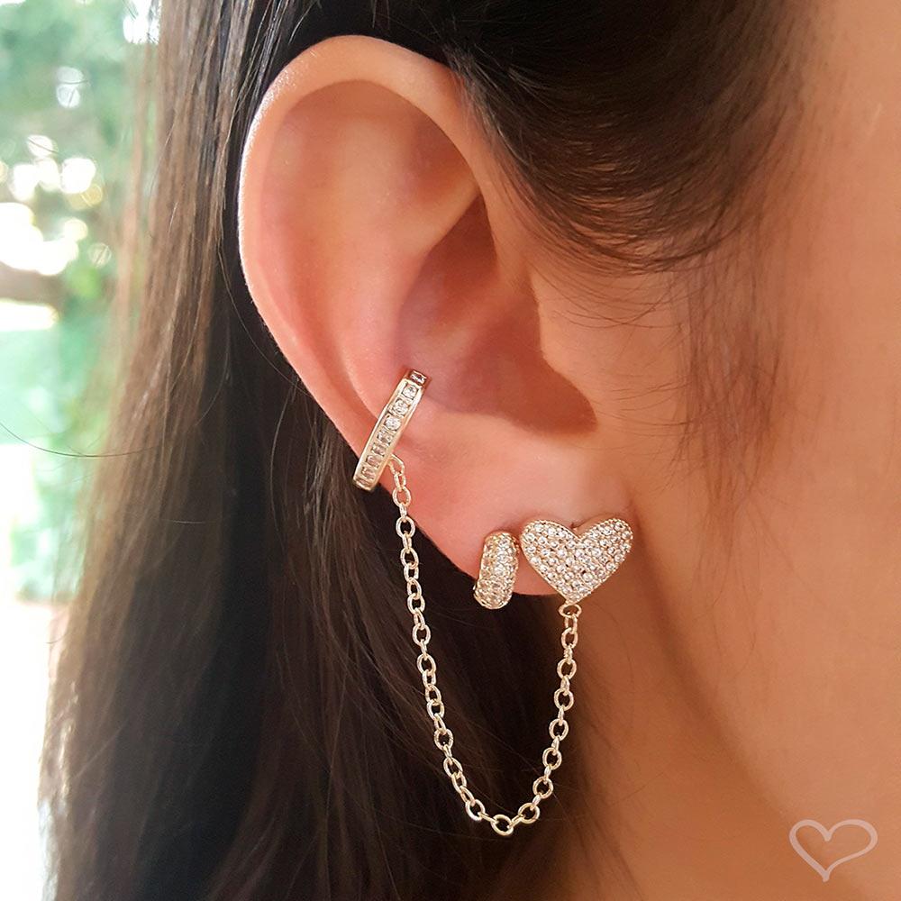 Brinco unitário piuka ear line tathy coração piercing zircônia folheado a ouro 18k
