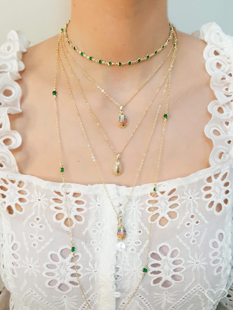 Colar longo piuka tessa zircônias esmeralda folheado a ouro 18k