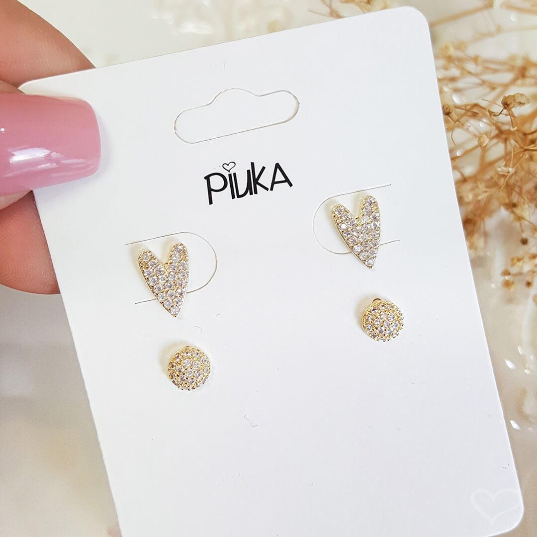 Kit 2 brincos piuka lindy coração botão zircônia cristal folheado a ouro 18k