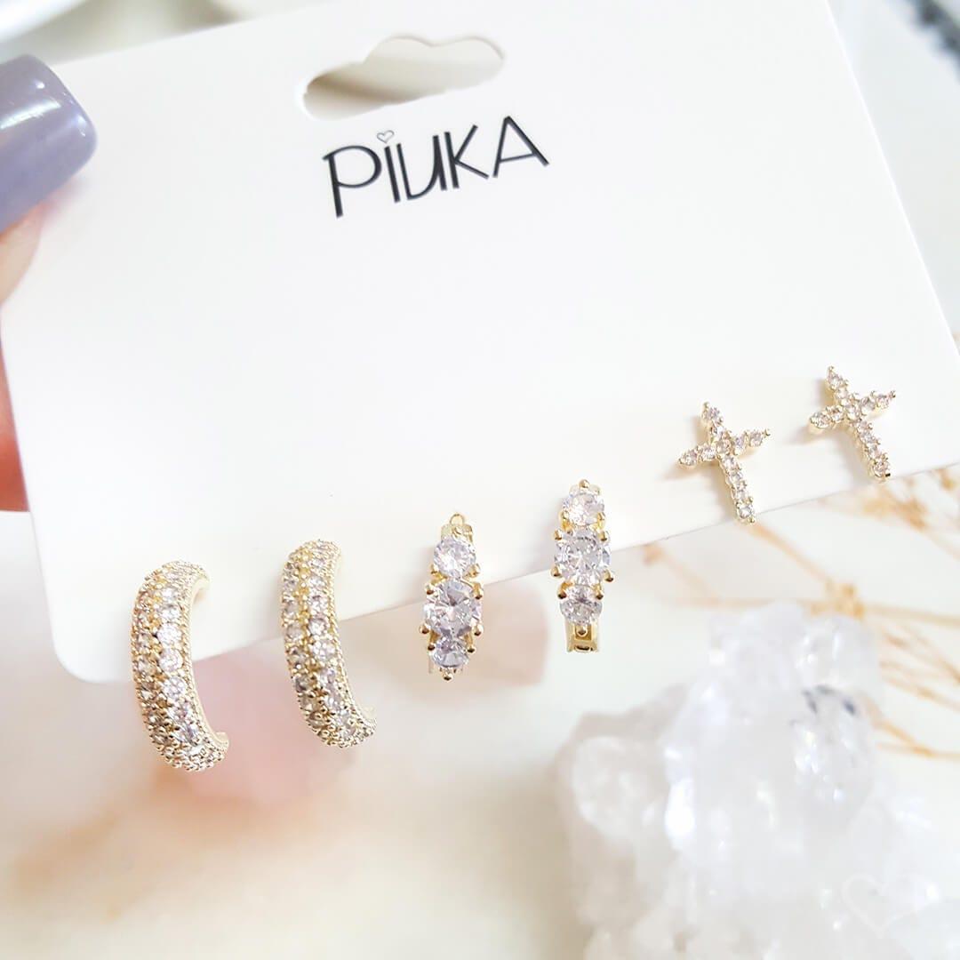 Kit 3 brincos piuka niko cruz argolinhas zircônia cristal folheado a ouro 18k