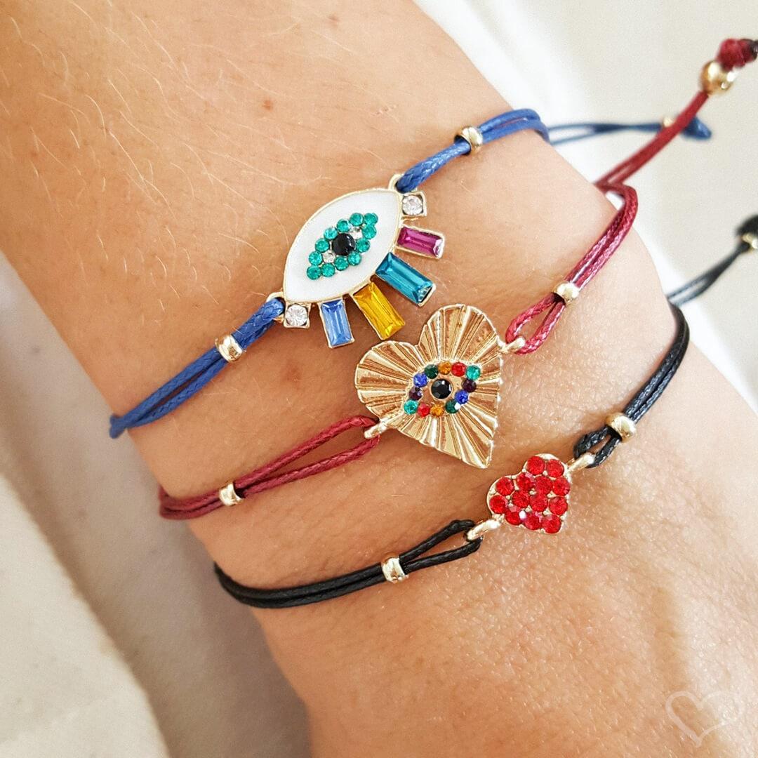 Kit 3 pulseiras piuka elyse olho grego colorido cordão ajustável