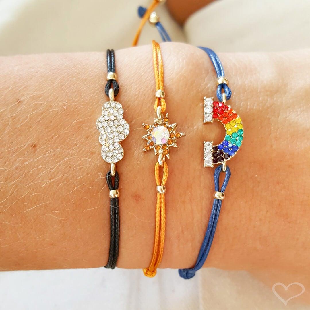 Kit 3 pulseiras piuka felicity colorido cordão ajustável