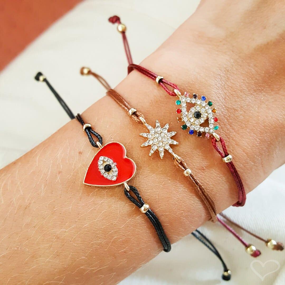 Kit 3 pulseiras piuka lauren olho grego colorido cordão ajustável