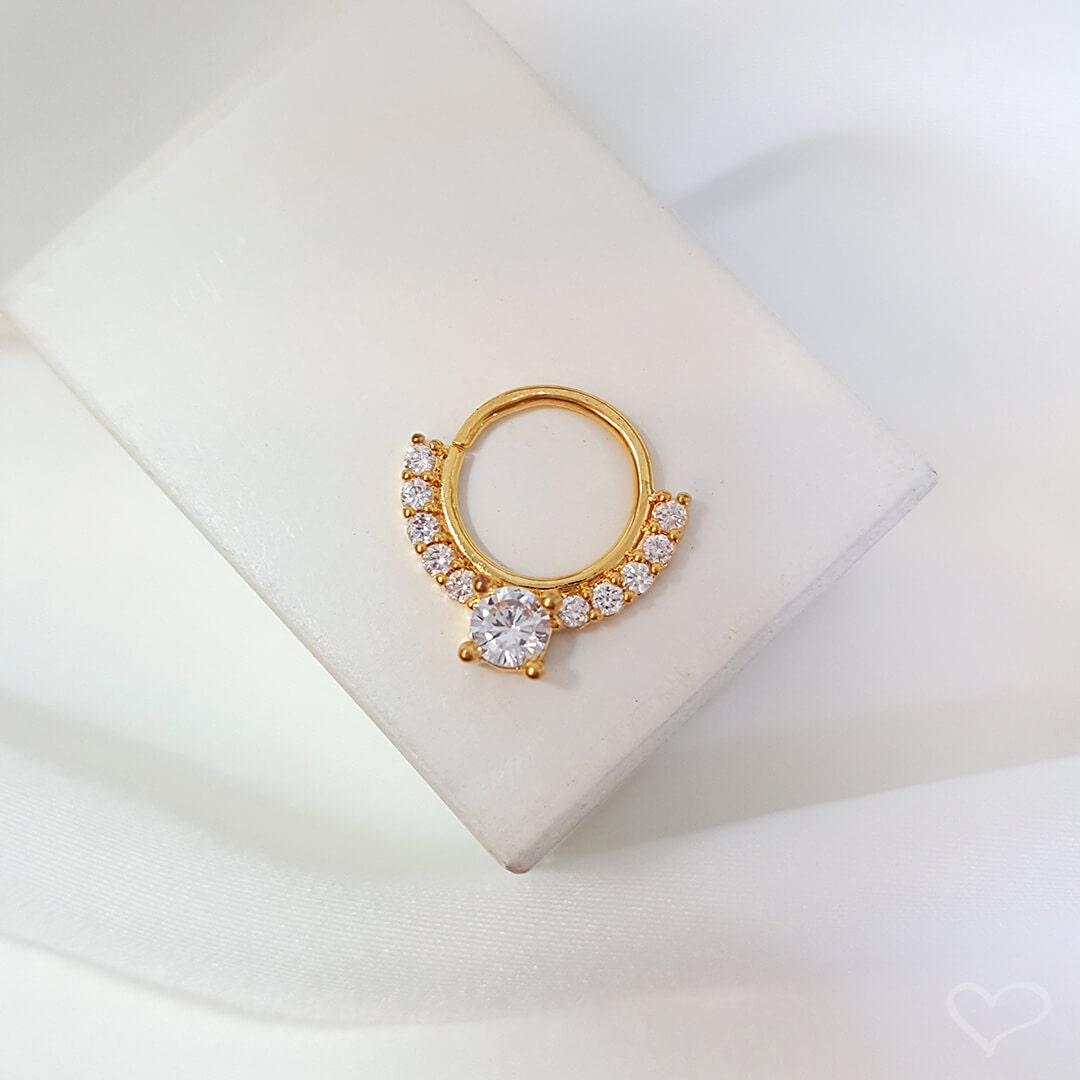 Piercing de furo piuka argola p bianca zircônia dourado