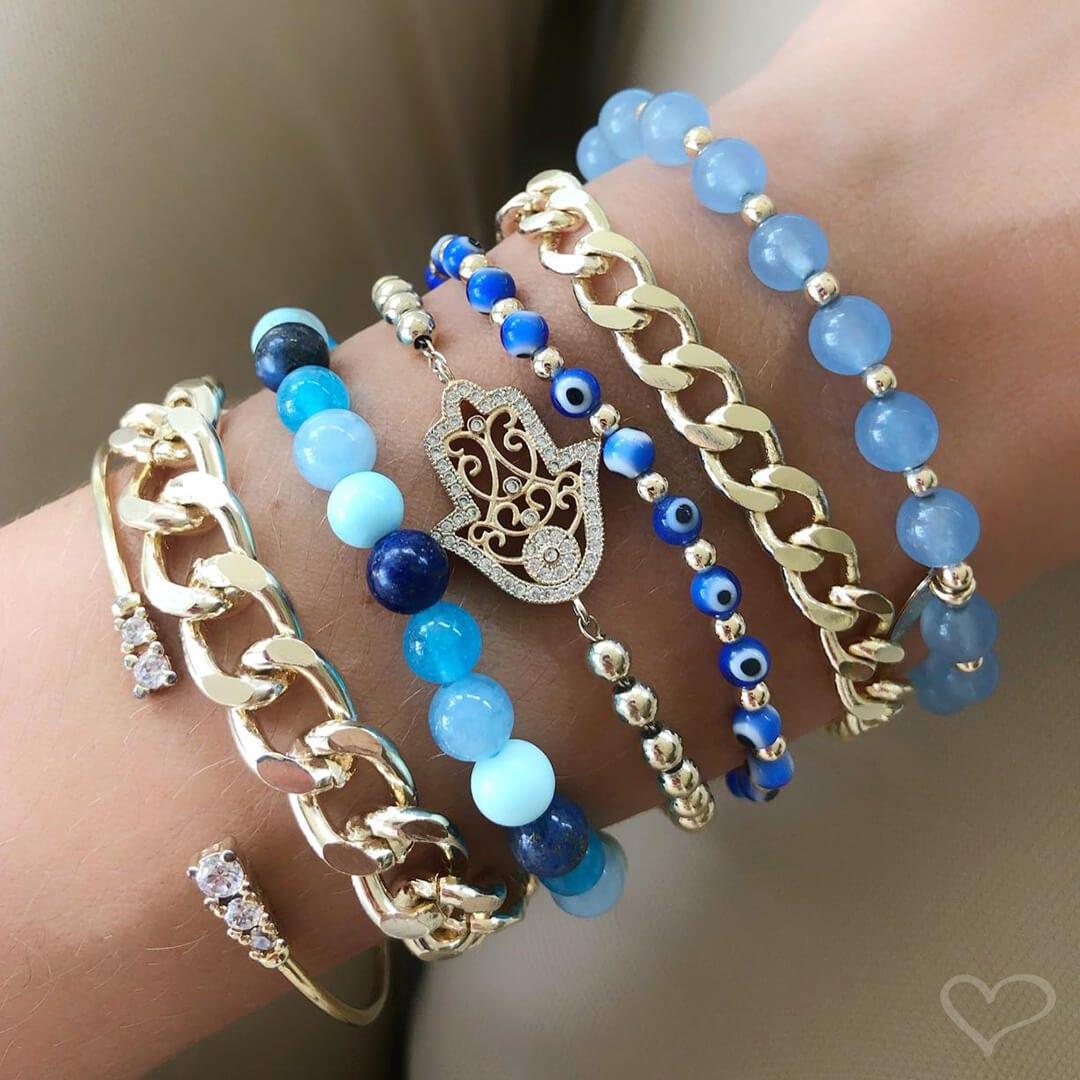 Pulseira Piuka Ana Beatriz Pedras Naturais Tons de Azul