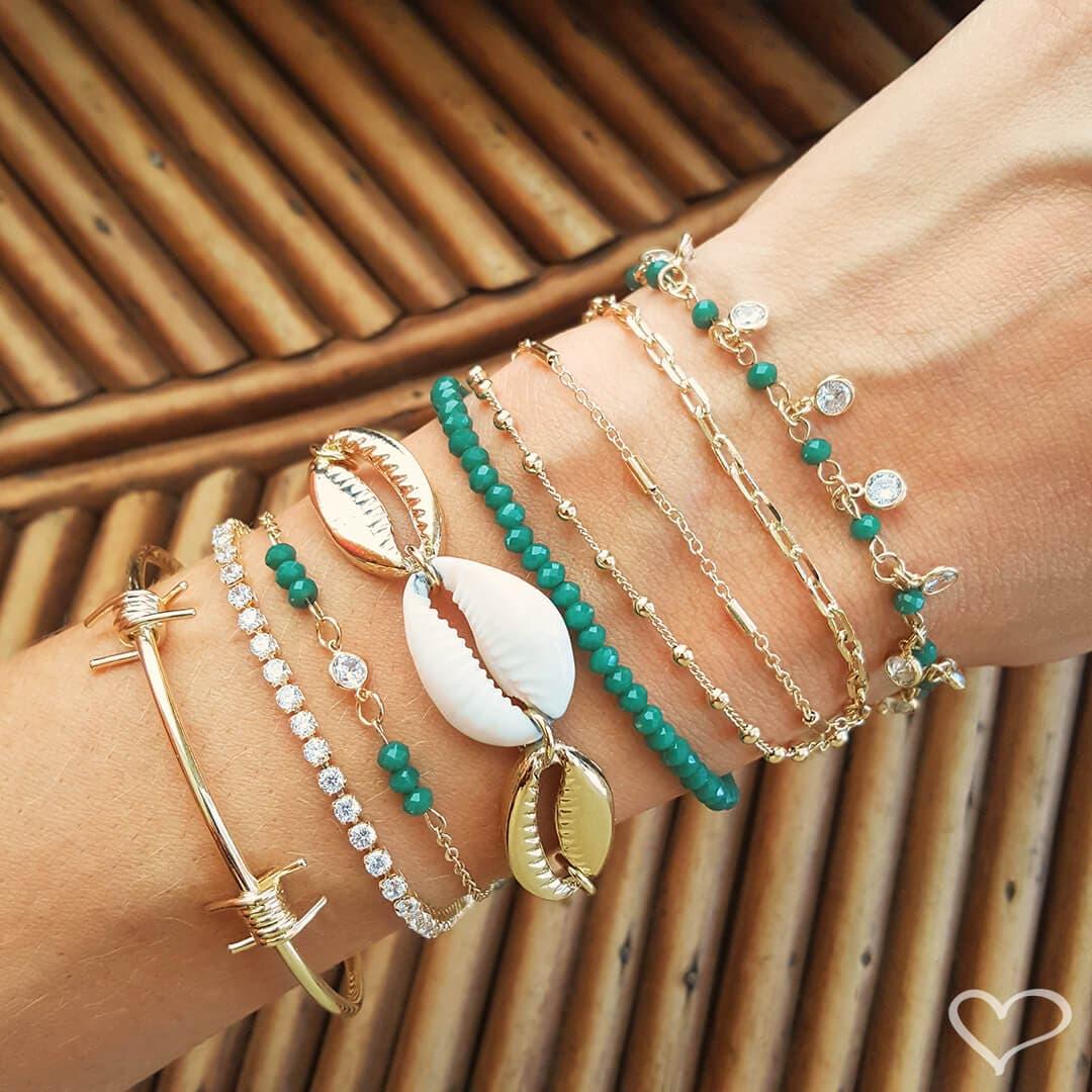 Pulseira piuka talia cristais emeralda e zircõnia folheado a ouro 18k